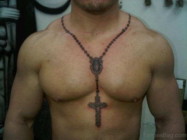 Grey Holy Rosary Tattoo On Chest For Men