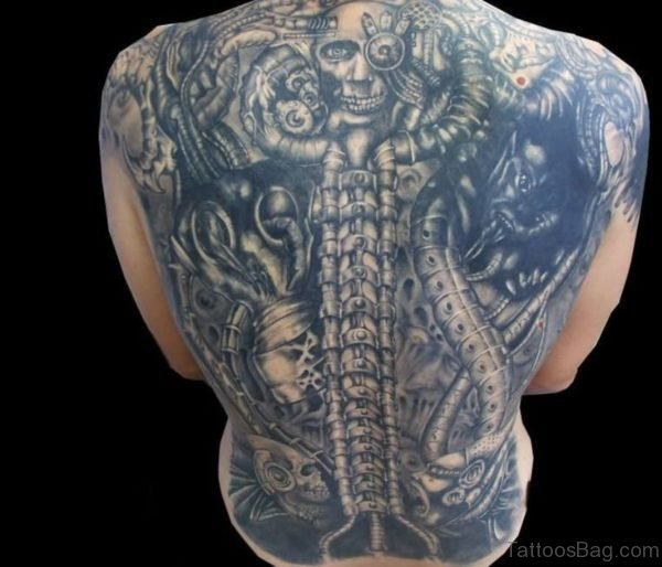 Grey Ink Alien Tattoos On Back Body