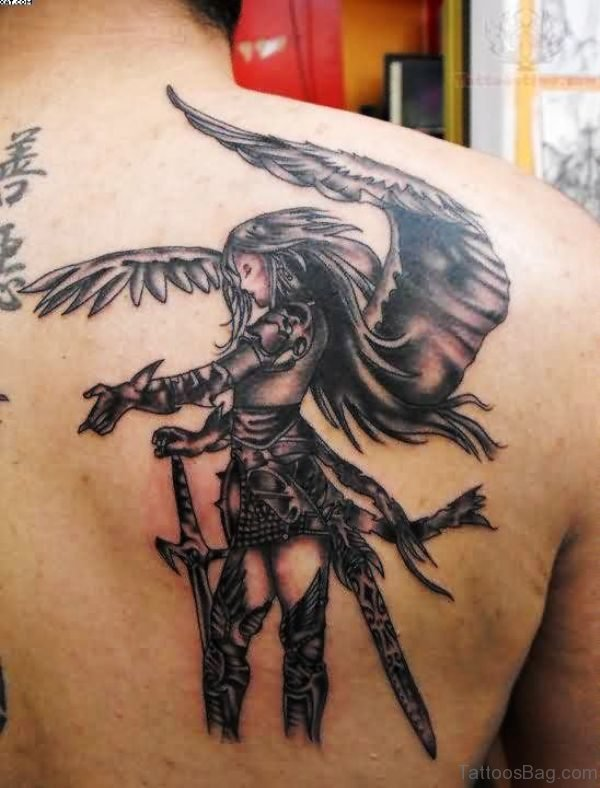 Grey Ink Angel Tattoo On Back Shoulder