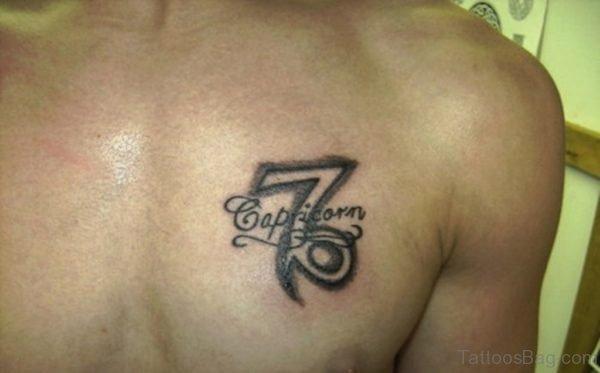 Grey Ink Capricorn Zodiac Symbol Tattoo On Chest