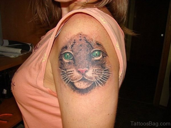 Grey Ink Cat Head Tattoo