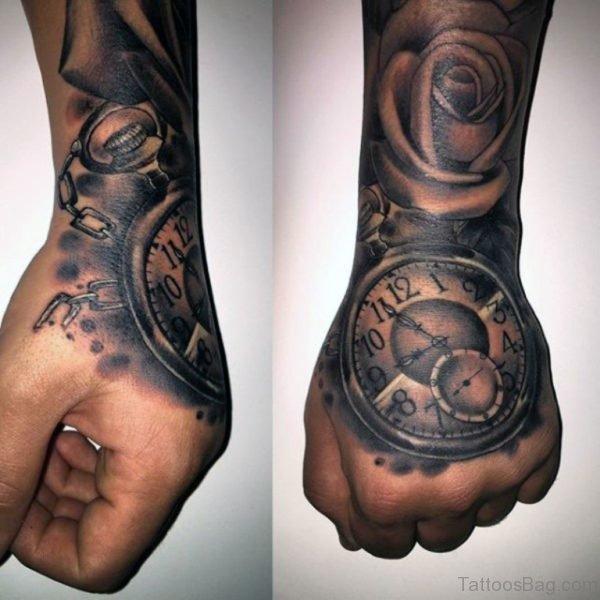Grey Ink Clock Tattoo