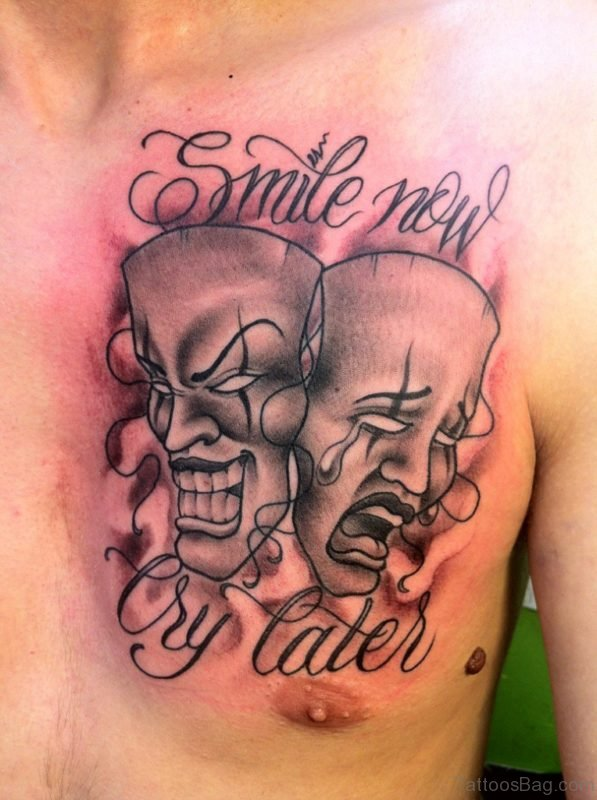 Grey Ink Drama Masks Tattoo On Chest