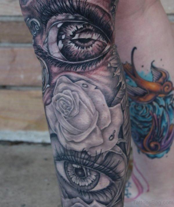 Grey Ink Eye Tattoo