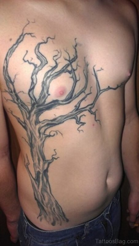 Grey Ink Leafless Tree Tattoo On Rib Side