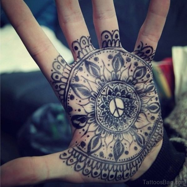 Grey Ink Mandala Tattoo