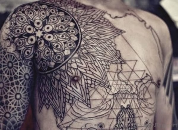 Grey Ink Mandala Tattoo On Chest