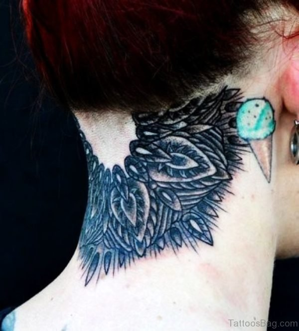 Grey Ink Mandala Tattoo On Nape