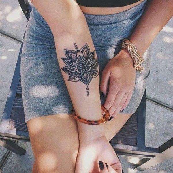 Grey Ink Mandala Tattoo on Wrist