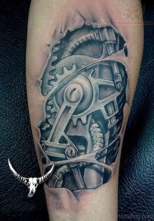 Grey Ink Mechanical Tattoo On Arm