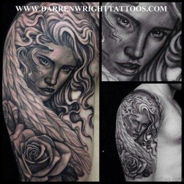 Grey Ink Medusa Tattoo On Shoulder