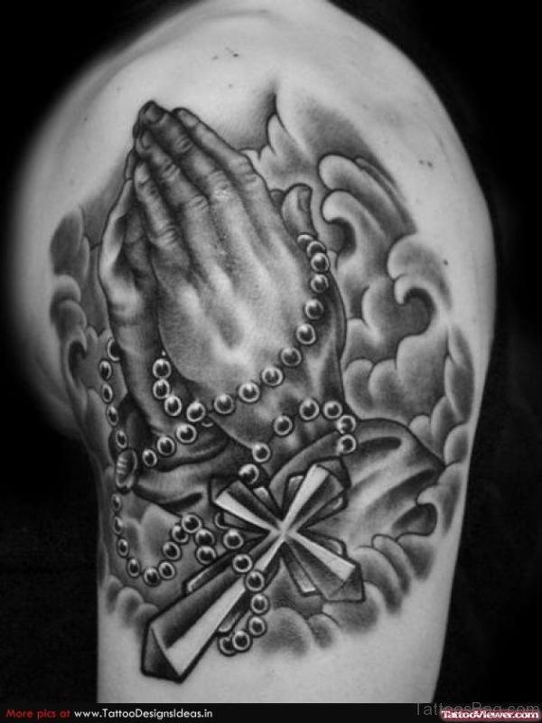 Grey Ink Praying Hands Tattoo