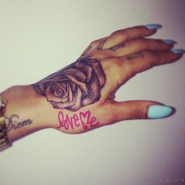 Grey Ink Rose Hand Tattoos For Women