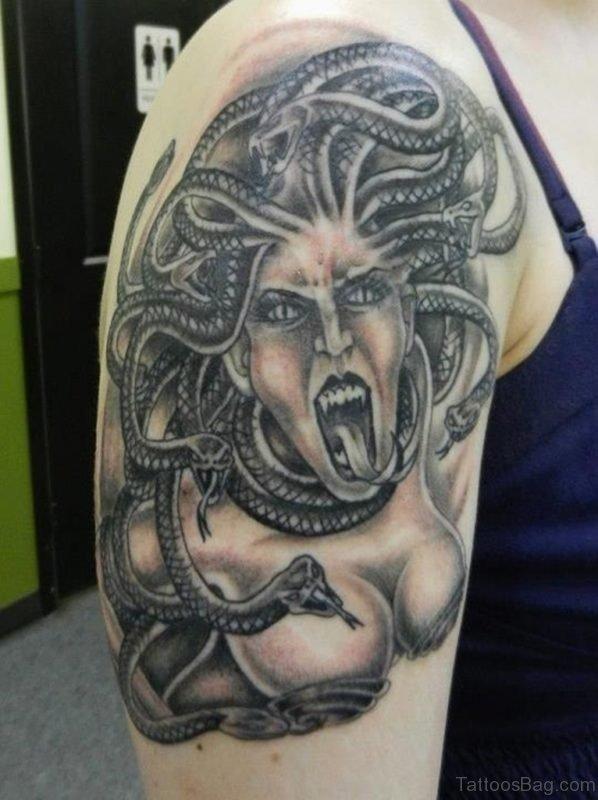 Grey Ink Screaming Medusa Tattoo On Shoulder Medusa Tattoo On Shoulder ST1121