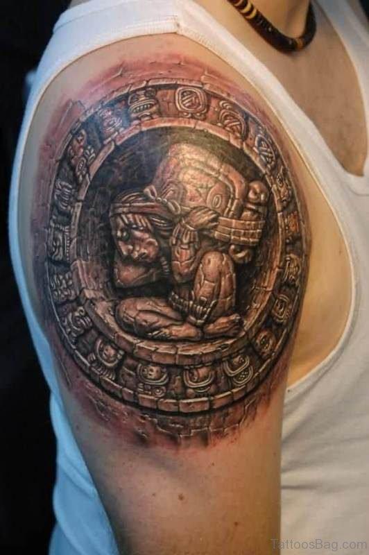 Grey Ink Shoulder Desinger Tattoo