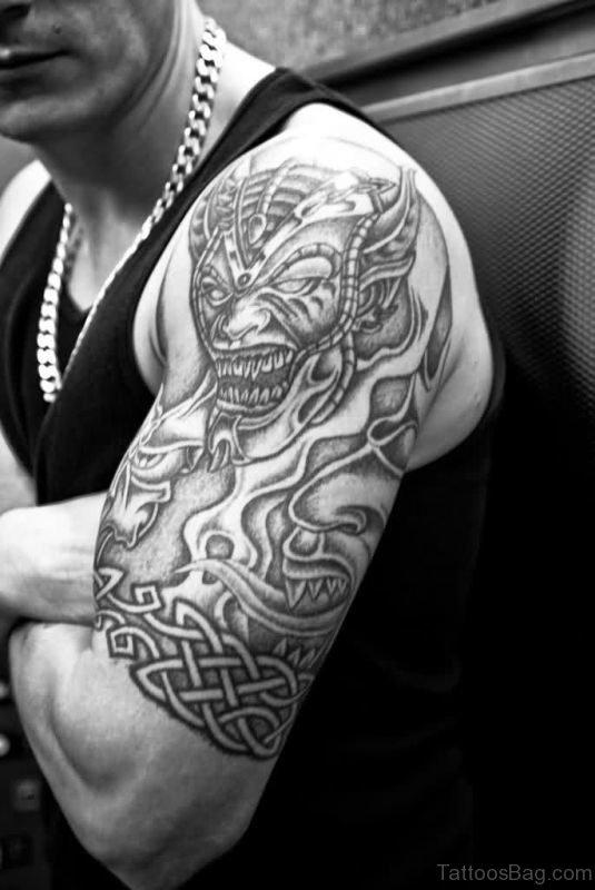 Grey Ink Shoulder Tattoo