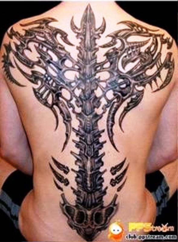 Grey Ink Skeleton Tattoo On Back