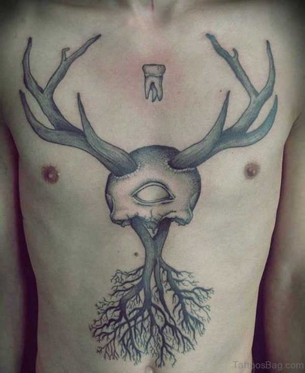 Grey Ink Tree And Deer Skull Chest Tattoo