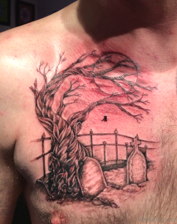 Grey Ink Tree And Tomb Stones Graveyard Tattoo On Man Chest