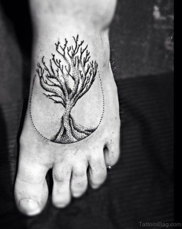 Grey Ink Tree Tattoo On Foot