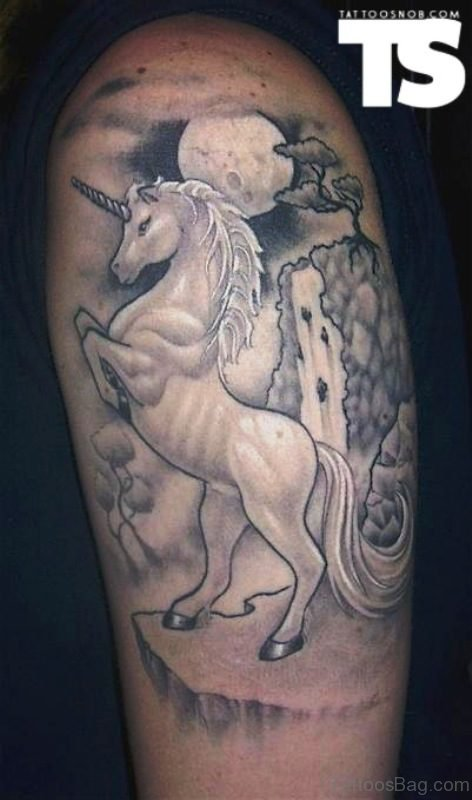 Grey Ink Unicorn Tattoo With Moon