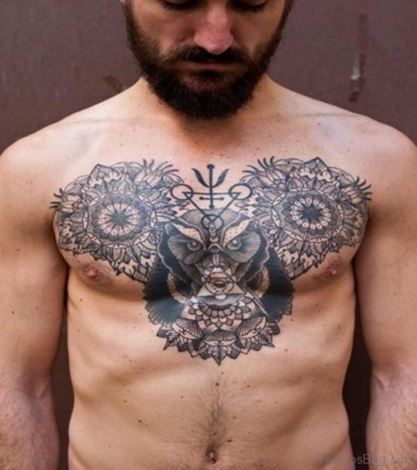 Grey Ink flying Owl Chest Tattoo