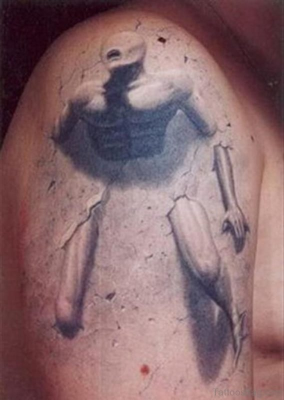 Grey Inked Alien Tattoo