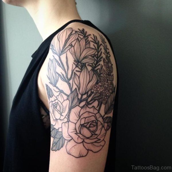 Grey Magnolia Tattoo