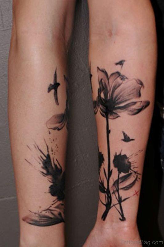 Grey Magnolia Tattoo On Wrist