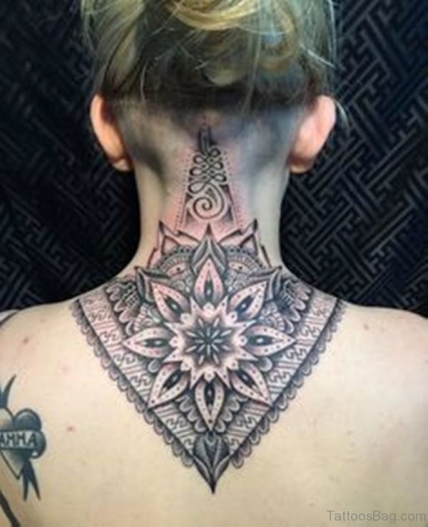Grey Mandala Tattoo On Nape