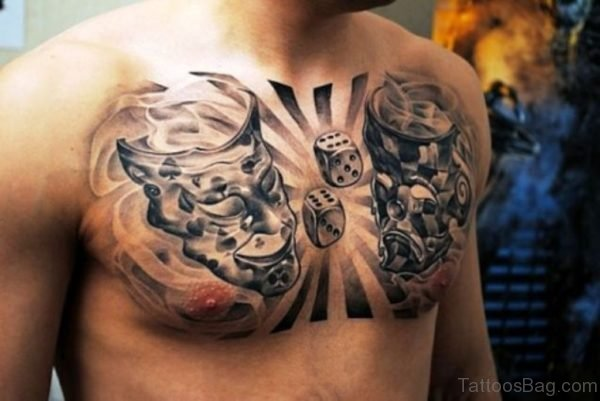 Grey Mask Tattoo on Chest