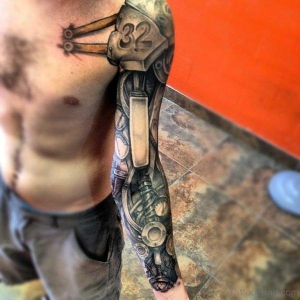 Grey Mechanical Tattoo On Full Sleeve