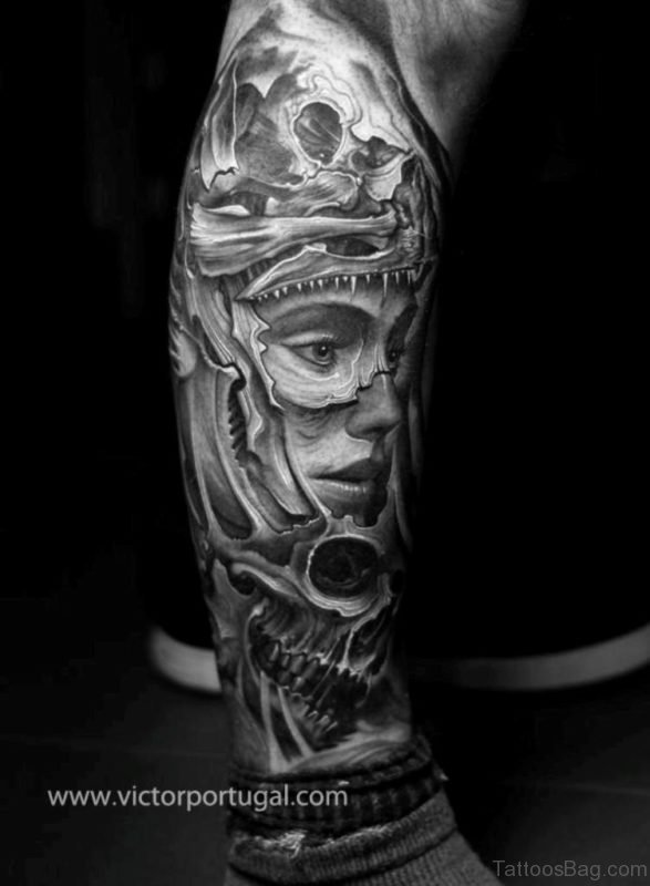 Grey Mechanical tattoo Design On Leg
