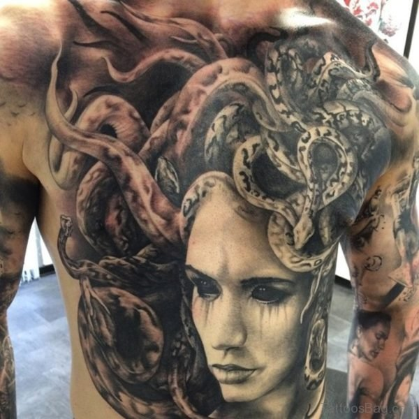 Grey Medusa Tattoo On Chest