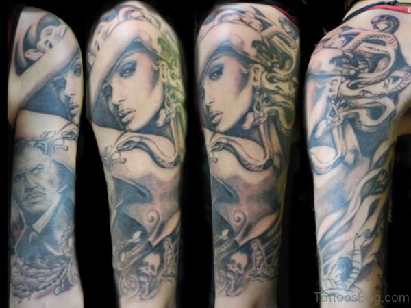 Grey Medusa Tattoo On Half Sleeve