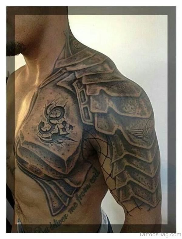 Grey Nordic Armor Tattoo