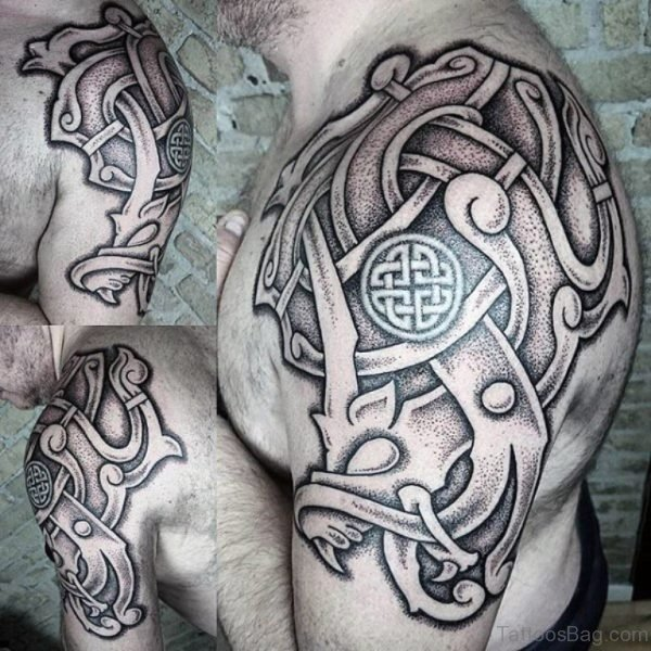 Grey Nordic Shoulder Tattoo