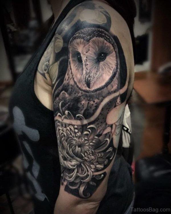 Grey Owl Shoulder Tattoo Design