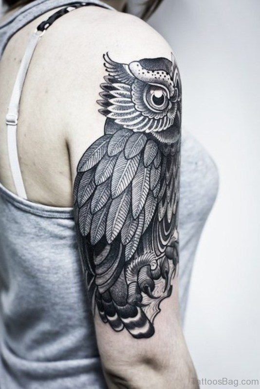 Grey Owl Tattoo On Right Shoulder