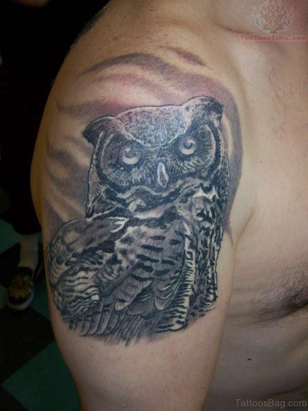 Grey Owl Tattoo On Shoulder