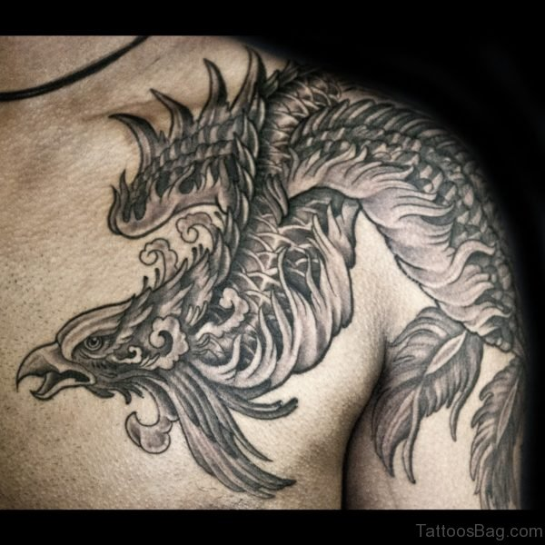 Grey Phoenix Tattoo On Chest