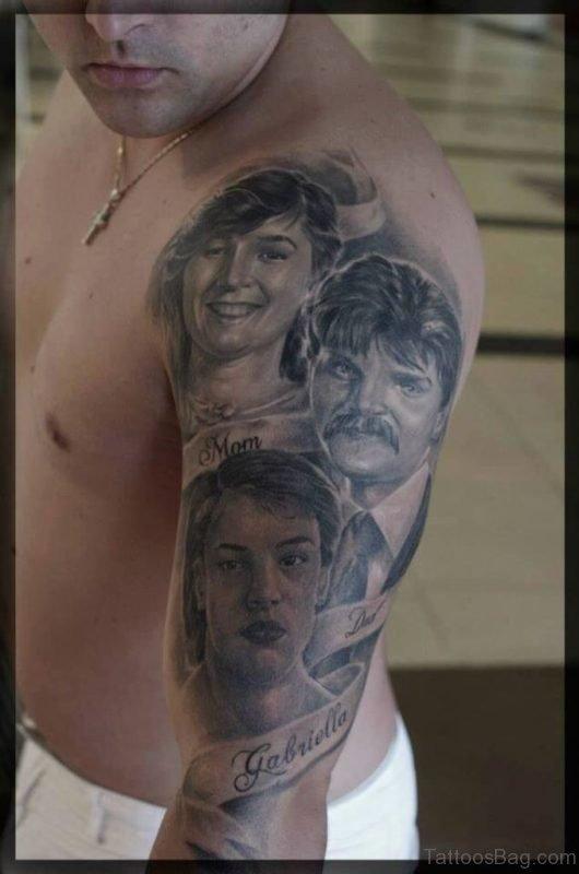 Grey Portrait Tattoo On Half Sleeve