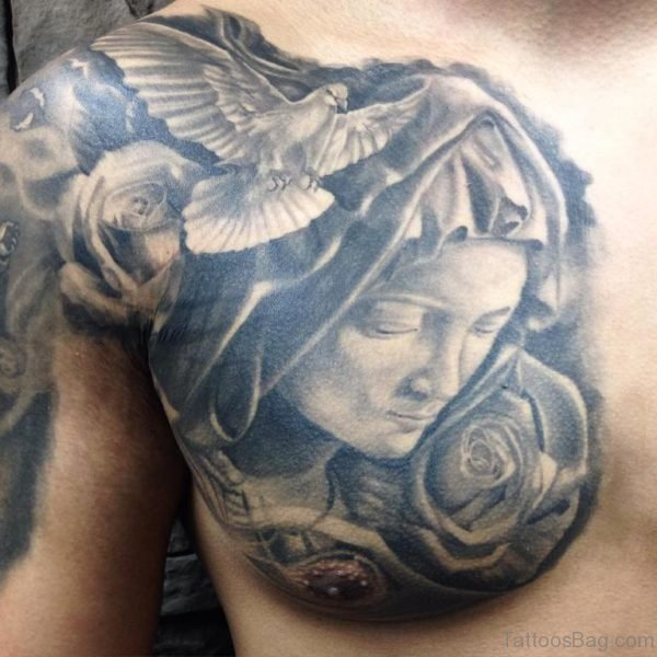Grey Rose And Dove Tattoo