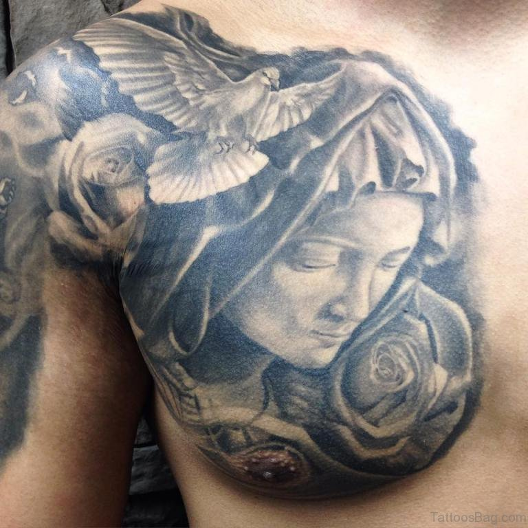40 ultimate dove tattoos for chest for Dove and rose tattoo