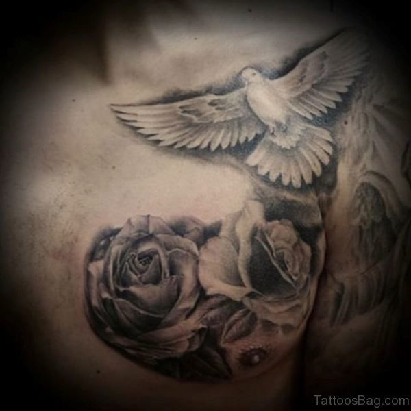 Grey Rose And Dove Tattoo On Chest