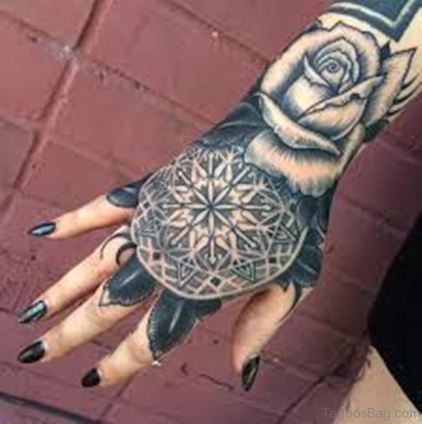 Grey Rose And Geometric Flower Tattoo On Girl Right Hand