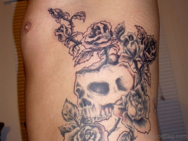 Grey Rose And Skull Tattoo