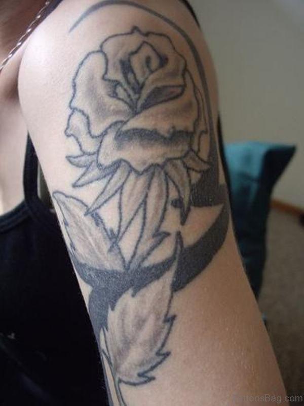 Grey Rose Shoulder Tattoo