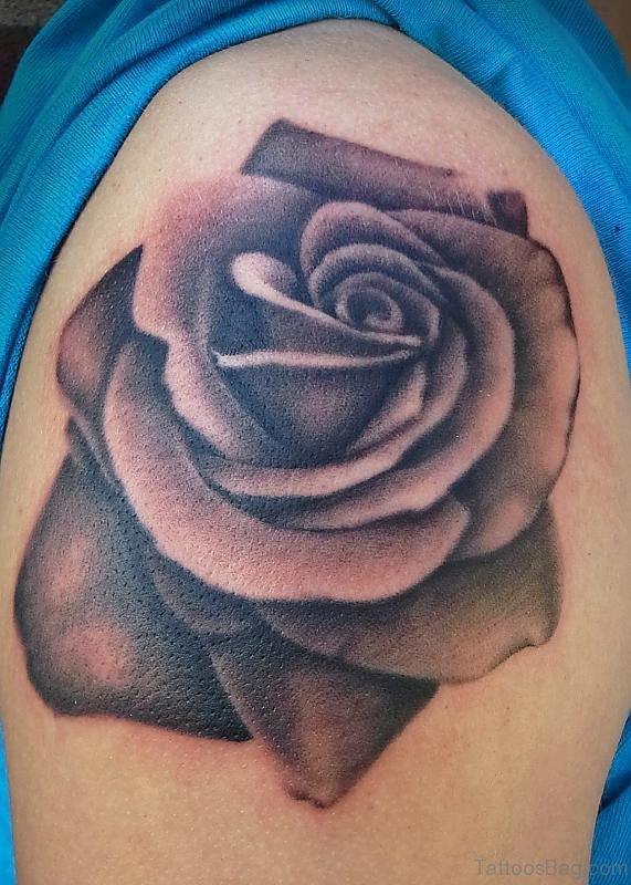 Grey Rose Tattoo Design