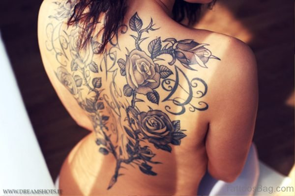 Grey Roses Vine Tattoo On Back